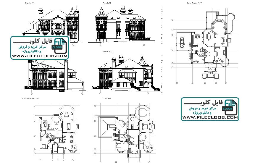 دانلود نقشه های ویلای کلاسیک به صورت اتوکد dwg / نقشه ویلا / پلان ویلا / villa plan