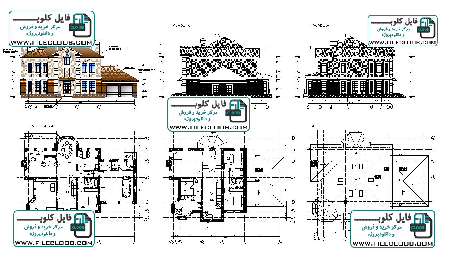 نقشه های کامل ویلا ی دوبلکس به صورت اتوکد dwg / پلان ویلای دوبلکس / پلان ویلای کلاسیک / villa plan / villa .dwg