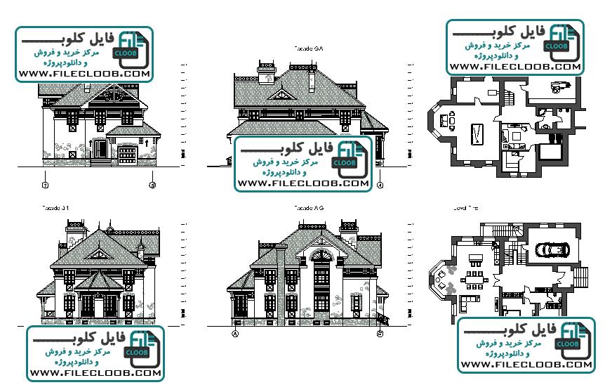 دانلود نقشه ویلا به صورت اتوکد dwg / پلان ویلا / پلان خانه باغ / طراحی ویلا / villa