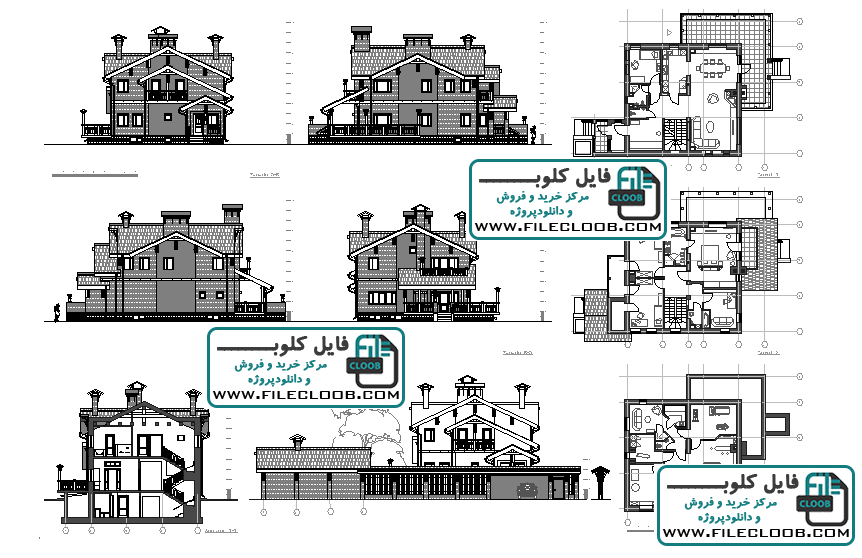 دانلود نقشه ویلای کلاسیک سه طبقه به صورت اتوکد dwg / پلان ویلایی / پلان ویلای تریبلکس